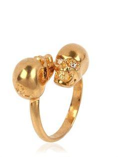 Alexander Mcqueen - Twin Skull Brass Ring by Alexander McQueen