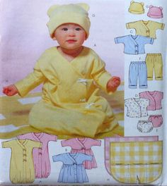 Items similar to Baby Layette Sewing Pattern UNCUT McCalls Sizes Small-XL gown dress top pants hat blanket on Etsy Baby Patterns, Vintage Patterns, Sewing Patterns, Fabric Crafts, Sewing Crafts, Sewing Projects, Sewing Tips, Sewing For Kids, Baby Sewing