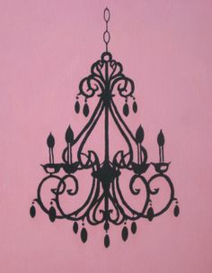 Hand-painted Chandelier Silhouette on Canvas -11x14