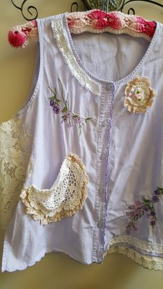 Upcycled clothing, shabby chic vintage lavender vest with crochet doily pocket