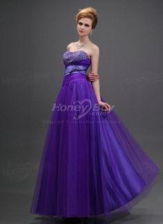 Bowknot Embellishment Handmade Beaded Purple Dress For Prom