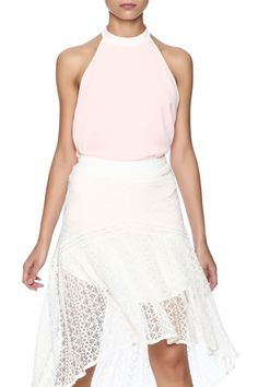 Open back halter top that's neon coral on one side and white on the other. Open back with strappy detail and button closure.   Reversible Open Halter by HYFVE. Clothing - Tops - Sleeveless Clothing - Tops - Blouses & Shirts North Shore, Boston, Massachusetts
