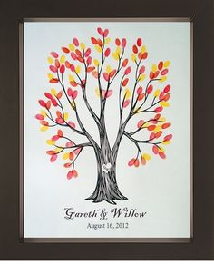Wyndam Wedding Thumbprint Tree for up to 175 by SayAnythingDesign Thumbprint Guest Books, Thumbprint Tree, Fall Wedding, Our Wedding, Wedding Ideas, Wedding Wishes, Wedding Colors, Wedding Stuff, Destination Wedding