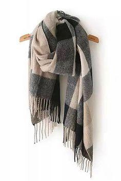 Love Love Love! Shades of Grey Plaid Tassel Cashmere Long Scarf #Grey #Plaid #Cashmere #Scarf #Winter #Fashion #Accessories