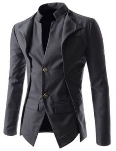 TheLees (NJK7) Mens Slim Fit Double Collar 2 Button Jacket Charcoal X-Large(US Large)