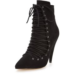 Shoe Box Amberly&Nbsp;Lace Up Front Ankle Boots&Nbsp; ($25) ❤ liked on Polyvore featuring shoes, boots, ankle booties, lace-up bootie, black bootie, lace up booties, ankle boots and black lace up ankle booties