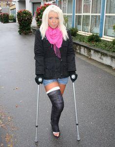 Embedded Long Leg Cast, Crutches, Broken Leg, It Cast, Winter Jackets, Legs, Surgery, Fashion, Chic