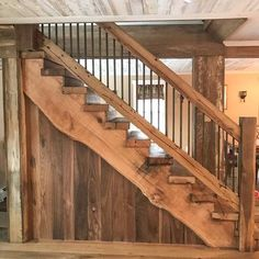 Stair Parts Staircase Rustic Stairs Stairs Parts Of Stairs Basement Stairs, House Stairs, Rustic Staircase, Staircase Ideas, Railing Ideas, Parts Of Stairs, Small Woodworking Projects, Woodworking Plans, Stair Railing