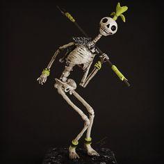 #skeleton #warrior #primitive #sculpture #cold porcelain #resin #lowbrow #figurine #artcomplex #sculpture artist #clayartist #gribouilli #virginie gribouilli