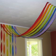 My daughter just turned 3 and I decided to have a rainbow themed party for her birthday. She loves rainbows! Rainbow Room, Rainbow Theme, Rainbow Brite, Rainbow Nursery, Rainbow Baby, Preschool Decor, Preschool Rooms, Preschool Classroom, Kindergarten