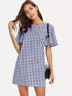 Flutter Sleeve Gingham Print Dress -SheIn(Sheinside)
