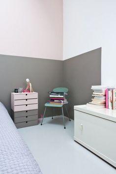 Une bande de gris pour une chambre cosy - Peinture : le coup de pinceau qui change tout - CôtéMaison.fr