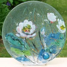 Controlled Bubble Textured Fused Art Glass Floral Plate with Gilt Accents offered by Ruby Lane shop Cousins Antiques