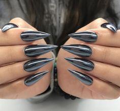 acrylic, chrome, and black nails