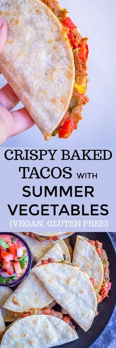 These crispy baked tacos with summer vegetables are the perfect way to enjoy fresh summer veggies! They're loaded with zucchini, summer squash, red peppers and protein packed refried beans! They come together in just over 30 minutes and are so easy to make. Enjoy these Crispy Baked Tacos with Summer Vegetables for lunch or dinner! #Vegan #Tacos #GlutenFree #Dinner