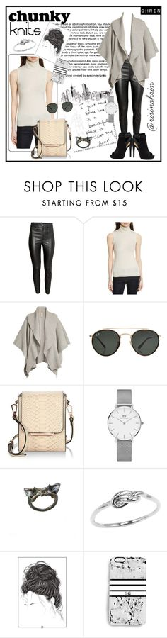 """chunky knits in black & white"" by rindularas on Polyvore featuring H&M, Theory, Burberry, Ray-Ban, Kendall + Kylie, Daniel Wellington, Rianna Phillips, Apt. 9, BlackWhite and knits"