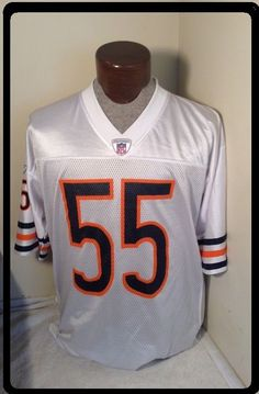 a3c348cac21 EUC+ Large LANCE BRIGGS Jersey REEBOK CHICAGO BEARS White #55 NFL Authentic  #Reebok #ChicagoBears