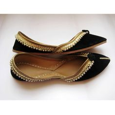 Gold Shoes/Black Flats/Ethnic Shoes/Velvet by footsoles24 on Etsy