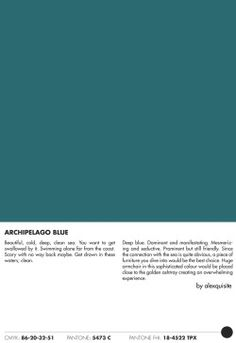 ARCHIPELAGO BLUE a colour research by alexquisite