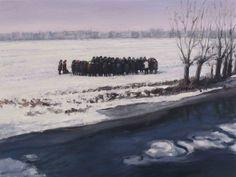 Serban Savu. Procession II, 2012.Oil on canvas, 30 x 40cm.