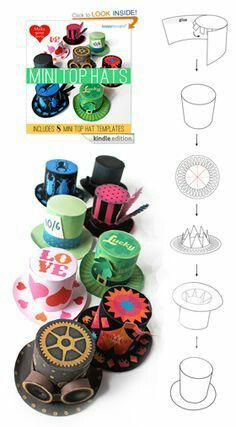 Make your own Mini top Hats: includes 8 mini top hat templates (Happythought paper craft Book Crazy Hat Day, Crazy Hats, Book Crafts, Diy And Crafts, Crafts For Kids, Paper Crafts, Mad Hatter Hats, Mad Hatter Tea, Hat Template