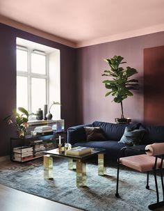 Un plafond saumon qui adoucit des murs fonçés - Un plafond en couleur pour un intérieur singulier - Elle Décoration