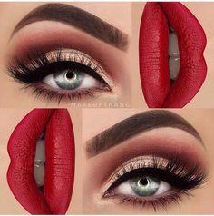 Resultado de imagen para red and gold makeup look