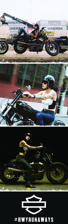 """Jenny Czinder - """"When I got my Harley I was super nervous and didn't have any other girls to ride with, so I just did laps around my neighborhood. Those laps got bigger and today I feel like I'm bonded to an entire community of Runaway women who do what they love."""" ❤ 