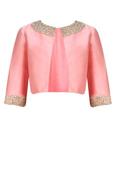 Dusty pink pearl and rhinestone embroidered bolero jacket available only at Pernia's Pop-Up Shop. This dusty pink taffeta bolero is detailed with pearl & rhinestone hand embroidery on the neck and cuff.