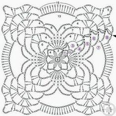 Transcendent Crochet a Solid Granny Square Ideas. Inconceivable Crochet a Solid Granny Square Ideas. Crochet Squares, Crochet Doily Diagram, Crochet Motif Patterns, Crochet Blocks, Granny Square Crochet Pattern, Crochet Chart, Thread Crochet, Crochet Designs, Crochet Doilies
