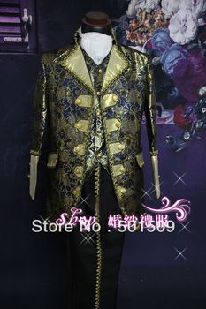 blue golden mens period costume Medieval Renaissance stage performance /Prince charming William /civil war/Colonial Belle stage