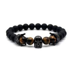 Spartan Skull Tiger Eye Men's Bracelet