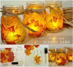 Original DIY herbstliche Kerzenhalter - Projects I Want .- Original DIY herbstliche Kerzenhalter – Projects I want to try - Thanksgiving Crafts, Fall Crafts, Crafts For Kids, Fall Candles, Diy Candles, Diy Originales, Candle Store, Diy Candle Holders, Fall Diy