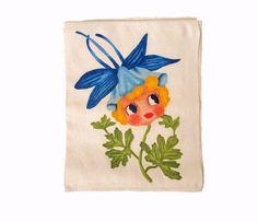 Vintage hand painted towel  Blue columbine  by #wonderdiva on Etsy #etsy #virtuosoetsy #tvteam