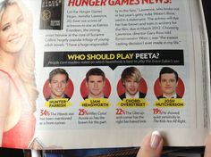 April2011 People magazine.our Josh is not the top pick for Peeta Sorry but SuzzaneCollins & GaryRoss already made they choice & a wise one! its our boy Josh Hutcherson! i knew it Liam did audition for Peeta but later on ask to audition for Gale in his interview u can feel that he is saying he audition for Gale 1st & not for Peeta's role 1st and if u read the in THG wiki site it was not mentioned there.i guess they left it out  so it wont look bad that Liam wanted Peeta role but lost it to…
