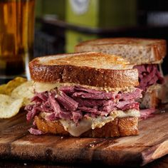 Pulled Corned Beef on Seared Rye. Youre in Irish pub heaven ordering a flavorful sandwich seared rye stacked high with beef cheese and just a hint of coarse mustard. Wrap Recipes, Beef Recipes, Cooking Recipes, Recipies, Yummy Recipes, Yummy Food, Tasty, Corned Beef Sandwich, Reuben Sandwich