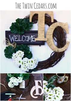 Easy Welcome Wreath tutorial. Using this idea you could create a wreath that is unique to your own decor and season.