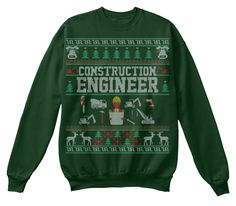 Construction Engineer  Christmas Sweater Deep Forest  Sweatshirt Front