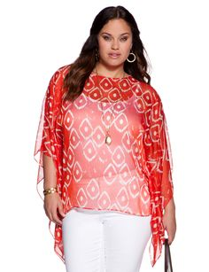 Sheer Pattern Caftan - Women's Tops & Shirts & Plus Size Tops & Shirts - eloquii by The Limited