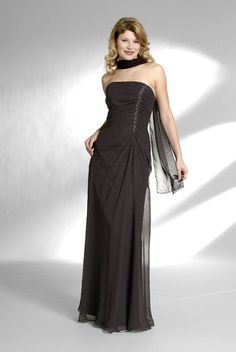 2015 Sleeveless Ruched Strapless Shawl Brown Floor Length Mother of the Bride Dresses MBD0126