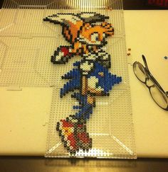 Sonic and Tails Perler Bead Sprite Art by SDKD