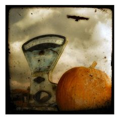 Halloween decor pumpkin and crow old scale autumn  by gothicrow, $16.00