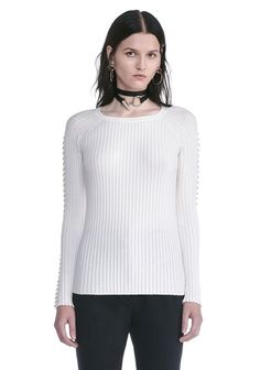 ALEXANDER WANG CREW NECK LONG SLEEVE TOP WITH PIERCED SLEEVES TOP Adult 12_n_e