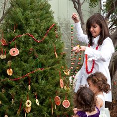 """I absolutely LOVE this idea!! Outsider Art: Texas """"Pastry Queen"""" Rebecca Rather branches out with a holiday tree for the birds! the birds and squirrels will love your outside holiday decorations."""