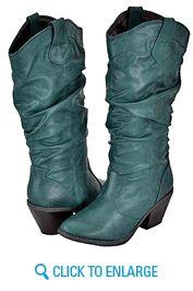 Qupid Muse-01 Green Women Cowboy Boots