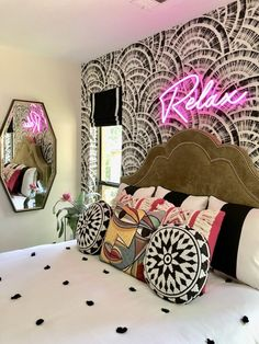 Empty nester redecorates son's room with fun new dec which includes new wallpaper, bed and a neon light. Room Ideas Bedroom, Home Decor Bedroom, Living Room Decor, Halloween Bedroom, Halloween Night, Interiores Art Deco, Aesthetic Room Decor, My New Room, Home Decor Inspiration