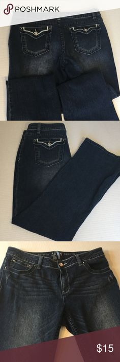 APt 9 Boot Cut Jeans Just a little distressed in front and crystal buttons front and back make these jeans stylish and glam Modern Fit soft denim with a little stretch great condition Apt. 9 Jeans
