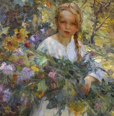 """Luis Graner y Arrufi (Spanish, 1863 - 1929), """"A Girl with Flowers"""""""