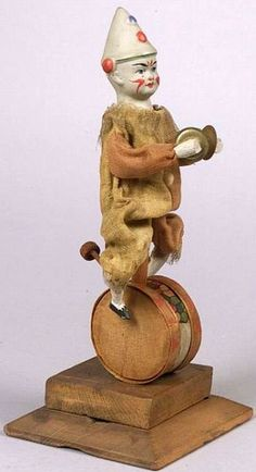 CLOWN MAROTTE from Germany, with paper mache head & flange neck - c. 1890.