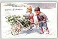Künstlerkarte Feiertag, K. Kind Muff Weihnachten BKWI